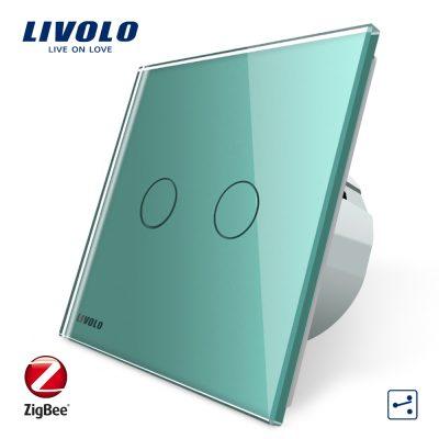 Intrerupator dublu cap-scara cap-cruce cu touch Livolo din sticla – protocol ZigBee, Control de pe telefonul mobil culoare verde