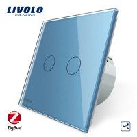 Intrerupator dublu cap-scara cap-cruce cu touch Livolo din sticla – protocol ZigBee, Control de pe telefonul mobil culoare albastra