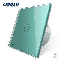 Intrerupator simplu cu timer si touch Livolo din sticla culoare verde