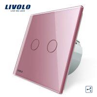 Intrerupator dublu cap scara / cap cruce cu touch Livolo din sticla culoare roz