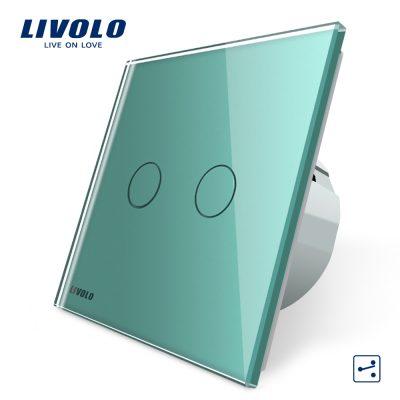 Intrerupator dublu cap scara / cap cruce cu touch Livolo din sticla culoare verde