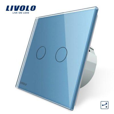 Intrerupator dublu cap scara / cap cruce cu touch Livolo din sticla culoare albastra
