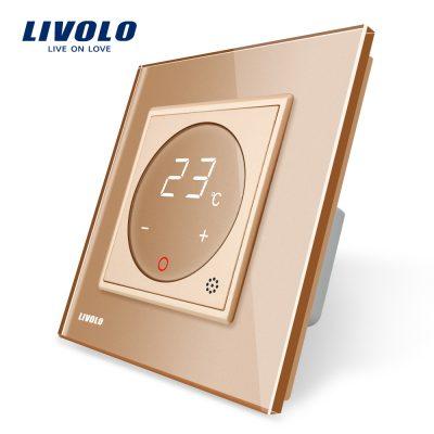 Termostat Livolo pentru sisteme de incalzire electrice culoare aurie