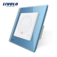 Termostat Livolo pentru sisteme de incalzire electrice culoare albastra