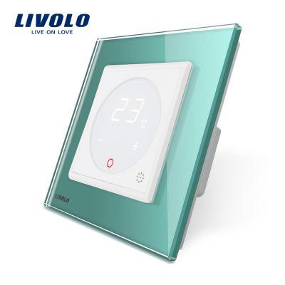 Modul termostat Livolo pentru sisteme de incalzire electrice fara rama sticla culoare verde