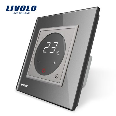 Termostat Livolo pentru sisteme de incalzire electrice culoare gri