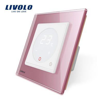 Modul termostat Livolo pentru sisteme de incalzire electrice fara rama sticla culoare roz