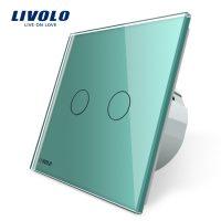 Intrerupator dublu cu touch Livolo din sticla culoare verde