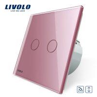Intrerupator draperie wireless cu touch Livolo din sticla culoare roz