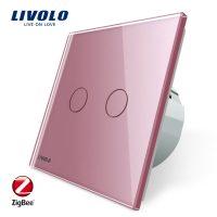 Intrerupator dublu cu touch Livolo din sticla – protocol ZigBee, Control de pe telefonul mobil culoare roz