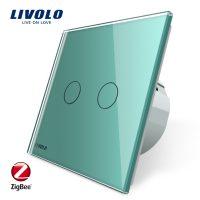 Intrerupator dublu cu touch Livolo din sticla – protocol ZigBee culoare verde