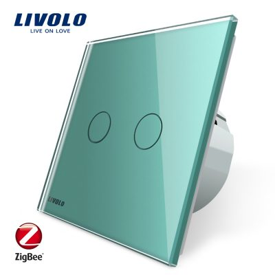 Intrerupator dublu cu touch Livolo din sticla – protocol ZigBee, Control de pe telefonul mobil culoare verde