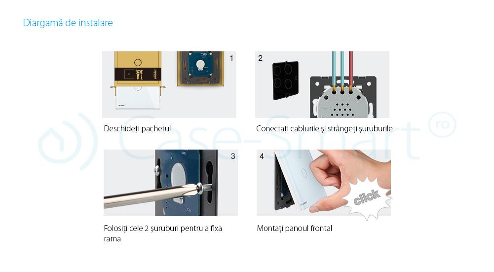 Modul termostat Livolo pentru sisteme de incalzire electrice fara rama sticla