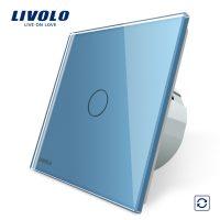 Intrerupator cu revenire Livolo cu touch din sticla culoare albastra