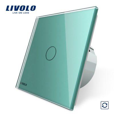 Intrerupator cu revenire Livolo cu touch din sticla culoare verde