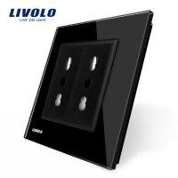 Priza dubla module inguste Livolo cu rama din sticla – standard german culoare neagra