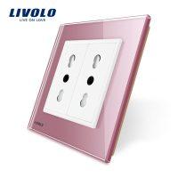 Priza dubla module inguste Livolo cu rama din sticla – standard german culoare roz