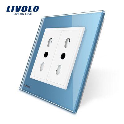 Priza dubla module inguste Livolo cu rama din sticla – standard german culoare albastra