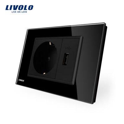 Priza simpla cu USB Livolo standard italian culoare neagra