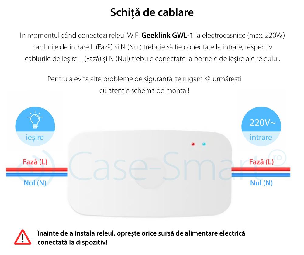 Releu Wireless cu control de pe telefonul mobil si functie timer, Geeklink GWL-1