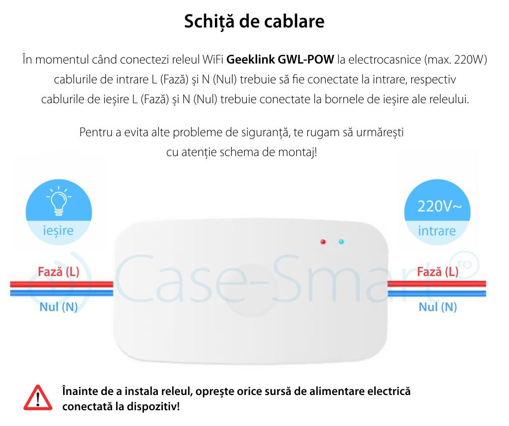 Releu Wireless monitorizare consum electric si functie timer cu control de pe telefonul mobil – Geeklink GWL-POW