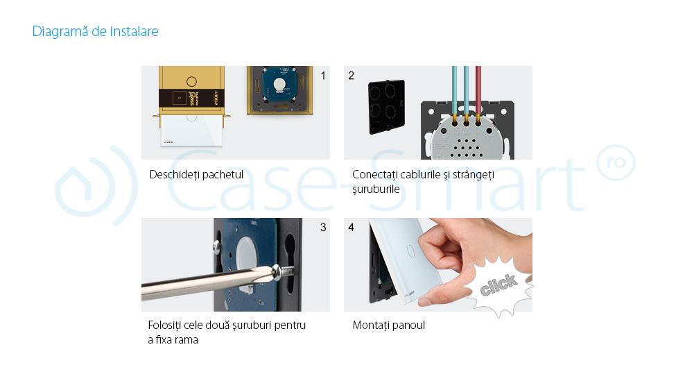 Priza dubla module inguste Livolo cu rama din sticla – standard german