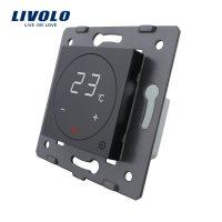 Modul termostat Livolo pentru sisteme de incalzire electrice fara rama sticla culoare neagra