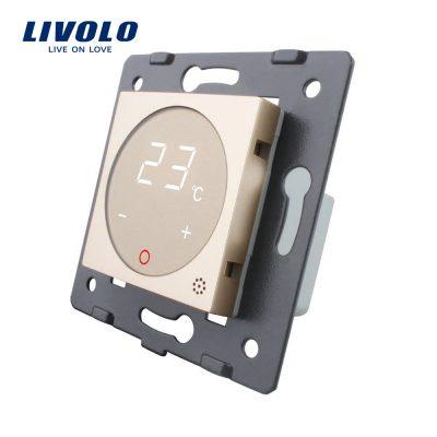 Modul termostat Livolo pentru sisteme de incalzire electrice fara rama sticla culoare aurie