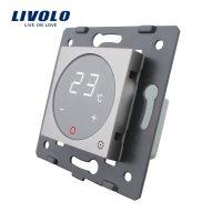 Modul termostat Livolo pentru sisteme de incalzire electrice fara rama sticla culoare gri