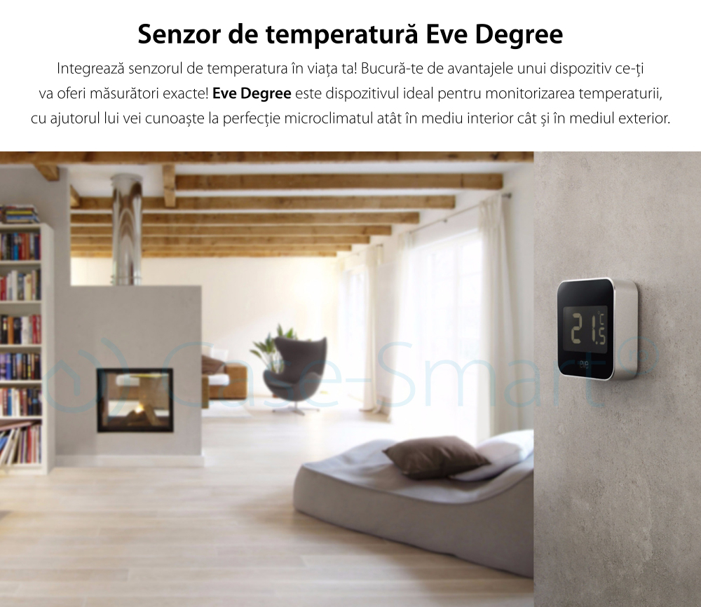 Senzor de temperatura si umiditate Eve Degree compatibil cu Apple Home Kit, rezistent la apa