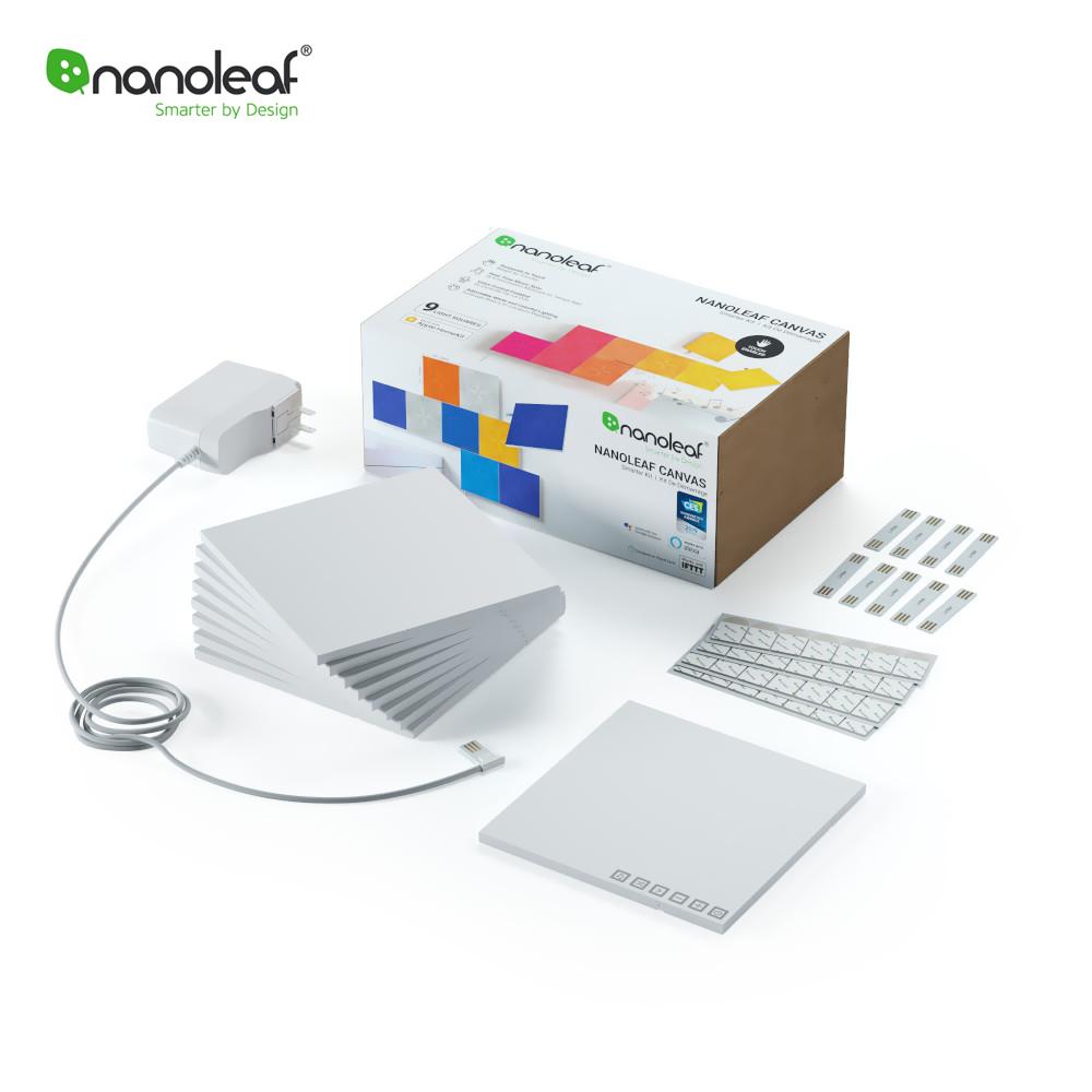 Kit 9 Panouri luminoase inteligente Nanoleaf Canvas cu senzor muzica, LED RGBW, Wi-Fi, Control tactil, Control de pe telefonul mobil imagine case-smart.ro 2021
