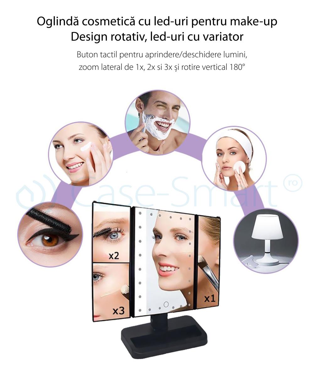 Oglinda cosmetica rotativa RedSun, Led-uri cu variator pentru make-up