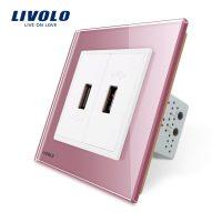 Priza dubla USB Livolo cu rama din sticla culoare roz