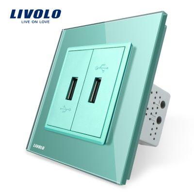 Priza dubla USB Livolo cu rama din sticla culoare verde