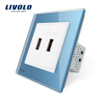 Priza dubla USB Livolo cu rama din sticla culoare albastra