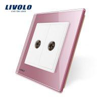 Priza dubla TV Livolo cu rama din sticla culoare roz