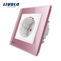 Priza simpla Livolo cu rama din sticla culoare roz