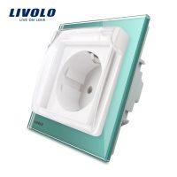 Priza simpla Livolo cu rama din sticla si capac de protectie rezistent la apa culoare verde