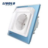 Priza simpla Livolo cu rama din sticla si capac de protectie rezistent la apa culoare albastra