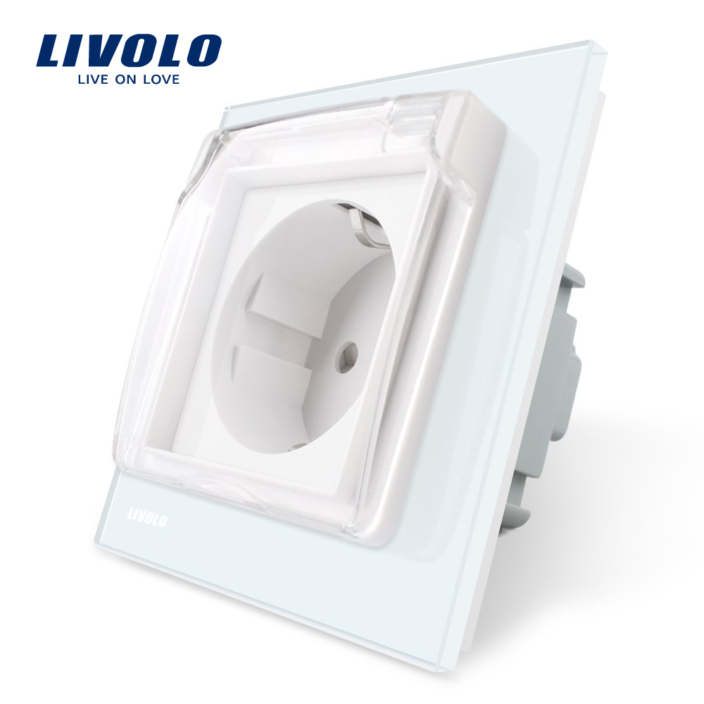 Priza simpla Livolo cu rama din sticla si capac de protectie rezistent la apa imagine case-smart.ro 2021