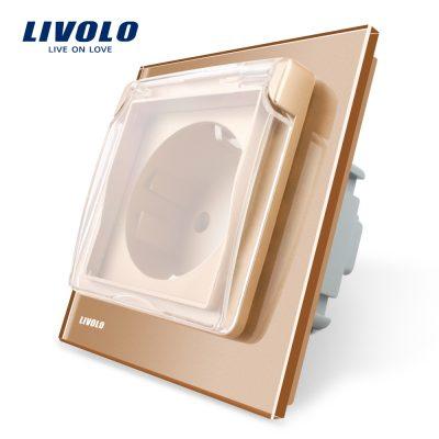 Priza simpla Livolo cu rama din sticla si capac de protectie rezistent la apa culoare aurie