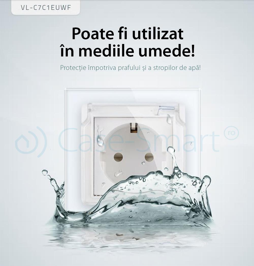 Priza simpla Livolo cu rama din sticla si capac de protectie rezistent la apa