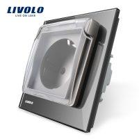 Priza simpla Livolo cu rama din sticla si capac de protectie rezistent la apa culoare gri