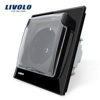Priza simpla Livolo cu rama din sticla si capac de protectie rezistent la apa culoare neagra