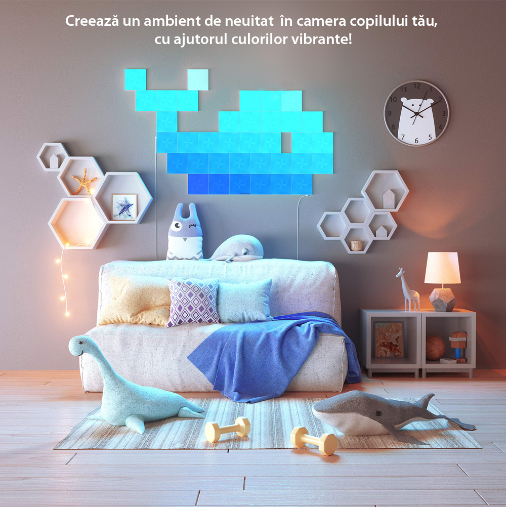 Pachet 4 Panouri luminoase inteligente Nanoleaf Canvas cu senzor muzica pentru extindere kit de baza Canvas, LED RGBW