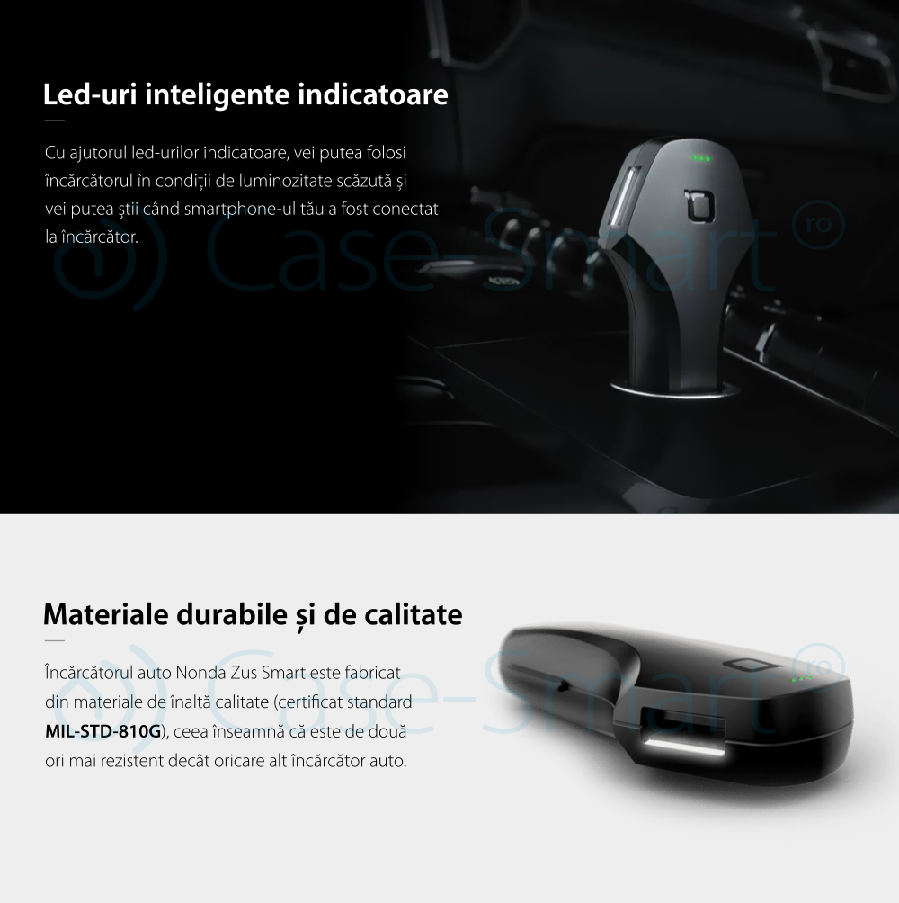 Incarcator auto Nonda Zus Smart, Dual USB, Negru