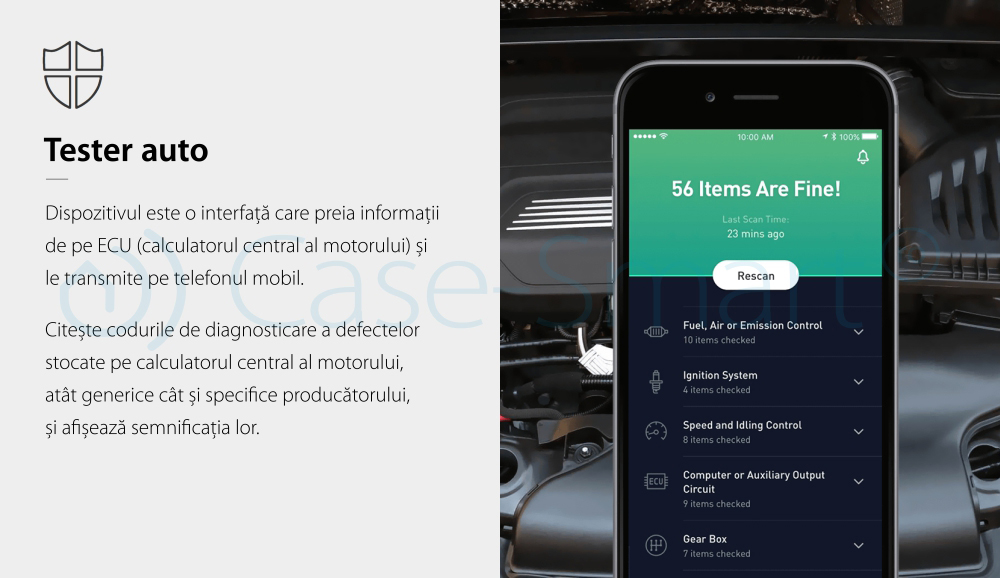 Tester Auto Nonda Zus Smart Vehicle Health Monitor, dispozitiv pentru diagnoza si monitorizarea starii masinii, Negru