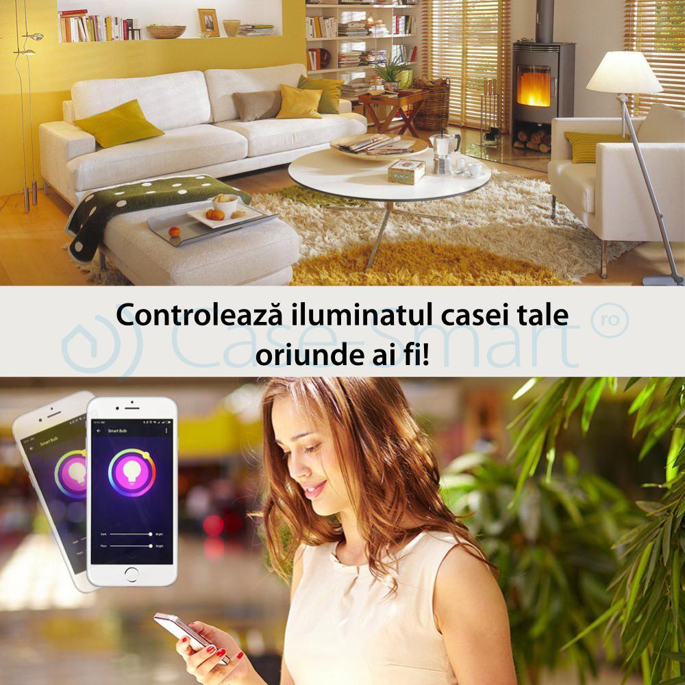 Bec inteligent LED RGB wifi rotund Red Sun, control de pe aplicatie mobila – RS-SLD02-E27