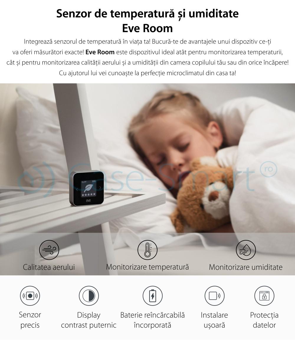 Senzor de temperatura si umiditate Eve-room, compatibil cu Apple Home Kit