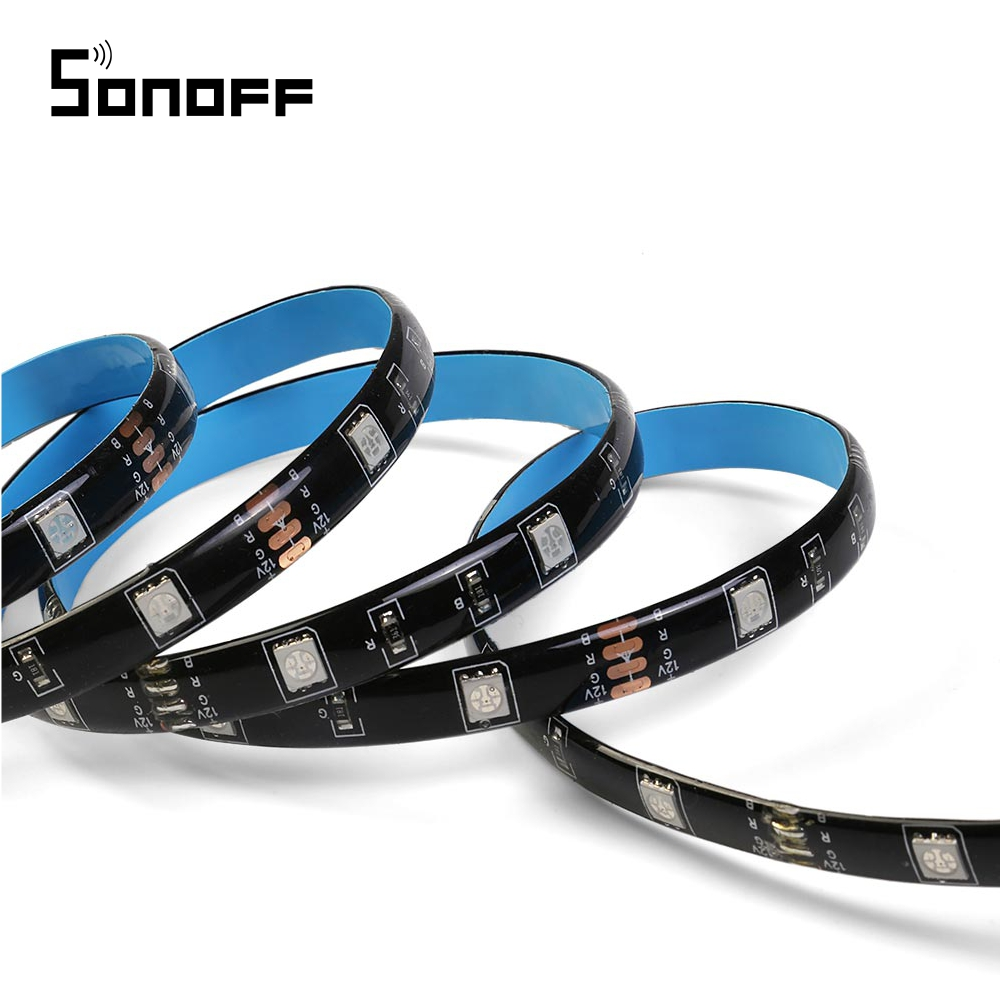 Banda inteligenta Wireless Light Strip LED RGB Sonoff L1, Lungime 2 m, Telecomanda inclusa, Control vocal, Control de pe telefonul mobil imagine case-smart.ro 2021